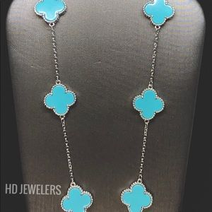 10 Motif Turquoise S. 925 Sterling Silver Necklace